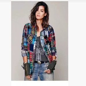 We The Free Lost In Plaid Patchwork Shirt S